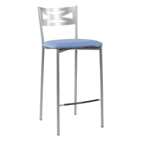 Tabouret snack de cuisine en métal satiné avec assise bleue - Kayle - 21