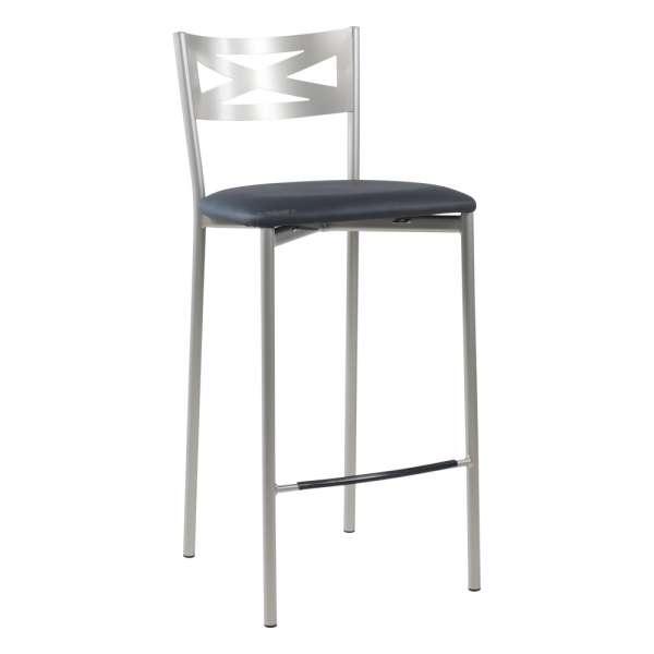 Tabouret snack de cuisine en métal satiné avec assise anthracite - Kayle - 23