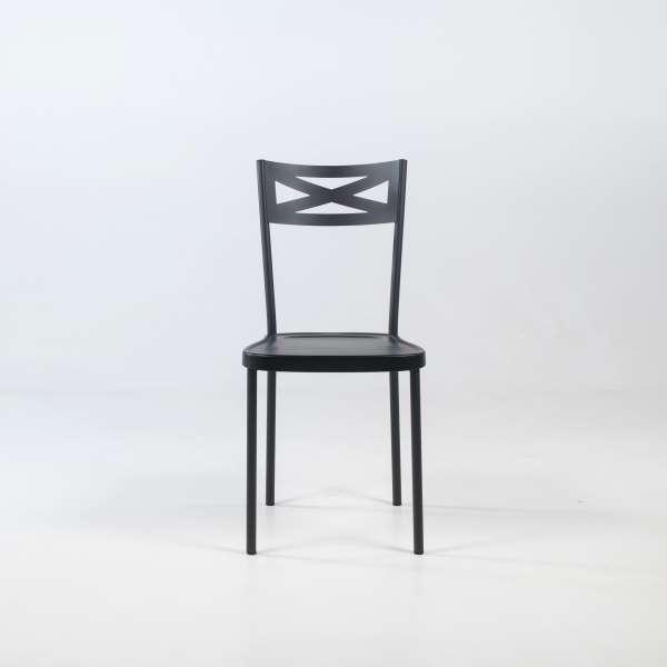 Chaise de cuisine contemporaine en métal assise en plastique noir - Kelly - 2