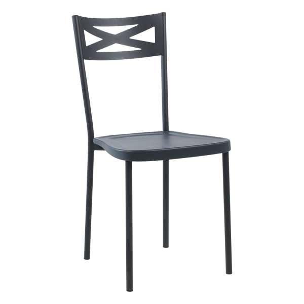 Chaise de cuisine contemporaine en métal assise en polypropylène graphite - Kelly - 6