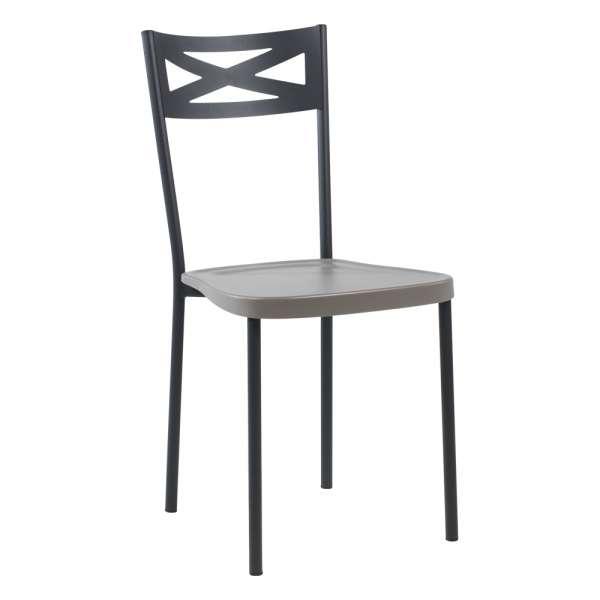 Chaise de cuisine contemporaine en métal assise taupe - Kelly - 7