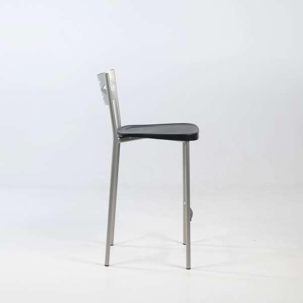 Tabouret snack de cuisine en métal satiné avec assise noire - Kayle - 8