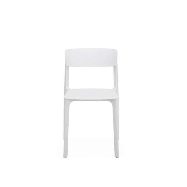 Chaise empilable en plastique blanc - Neptune - 22