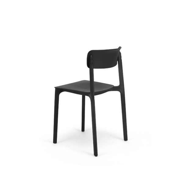 Chaise empilable en polypropylène noir - Neptune - 11