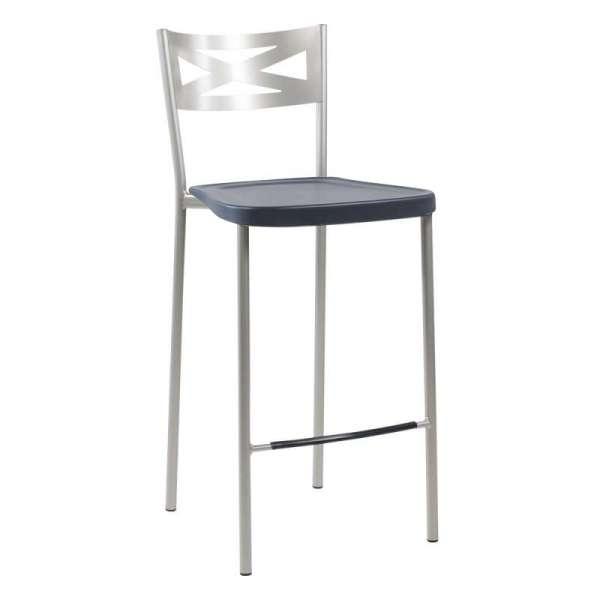 Tabouret snack de cuisine en métal satiné avec assise en polypropylène graphite - Kayle - 14
