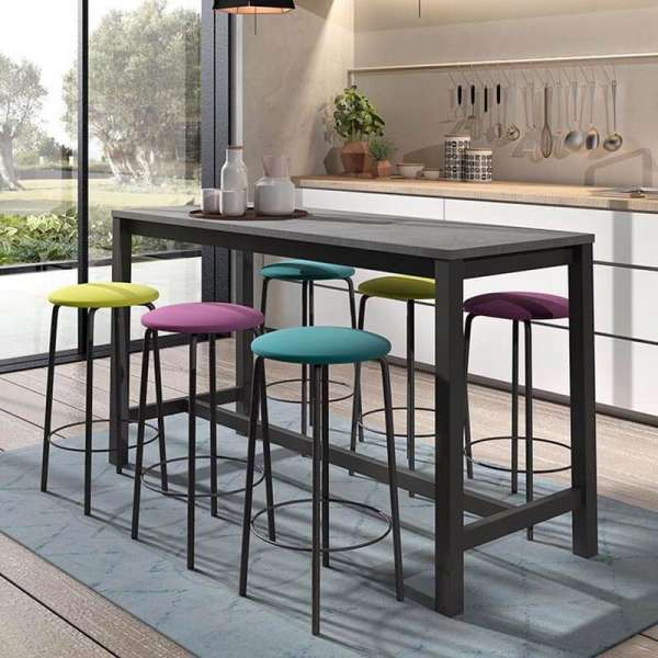 Table haute de cuisine hauteur 90 cm en stratifié et métal 160 x 60 cm - Vienna - 1