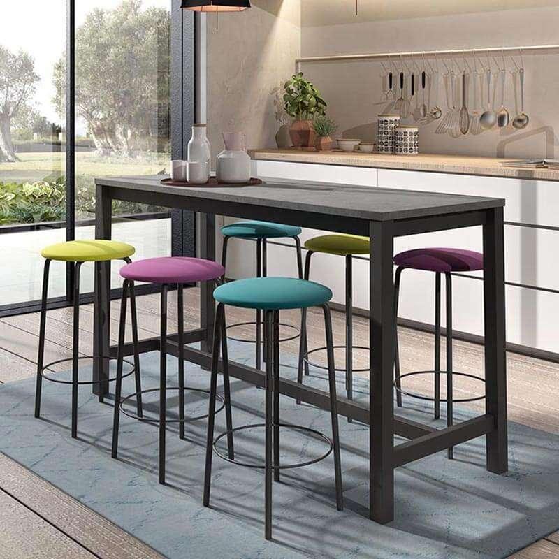 Table Haute De Cuisine Hauteur 90 Cm En Stratifie Et Metal 160 X 60