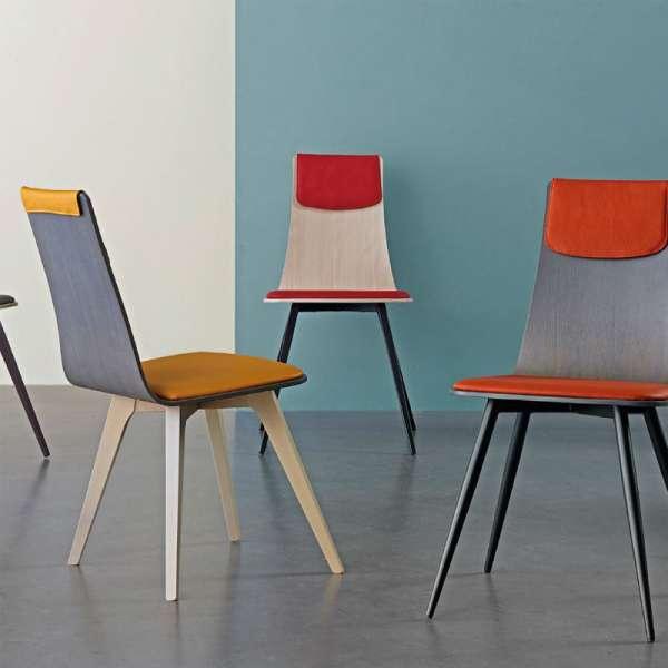 Chaise italienne design tricolore avec pieds en bois - Amélie - 3