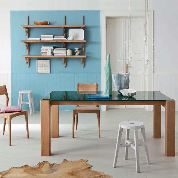 Table extensible design en verre motifs herbe et bois massif - Sidney 7 - 8