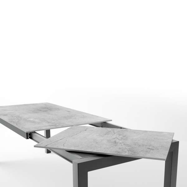 Table en dekton rectangulaire extensible avec structure en métal anthracite - Lakera - 8