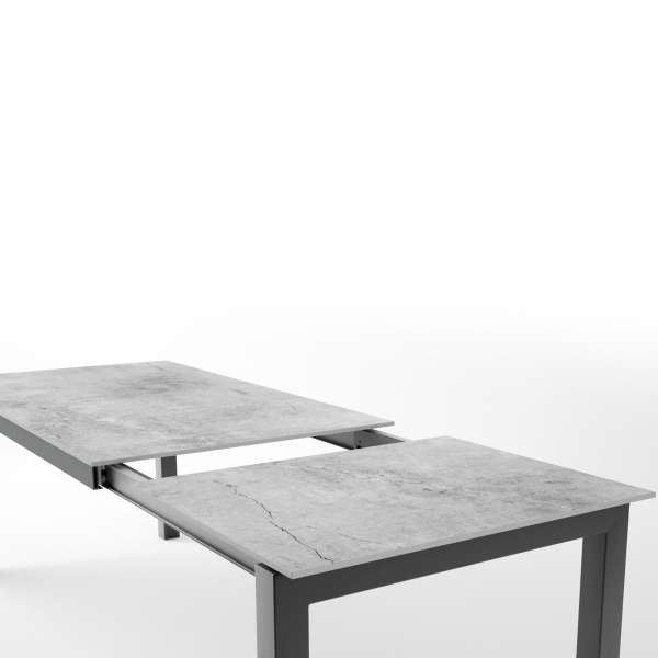 Table en dekton rectangulaire extensible avec structure en métal anthracite - Lakera - 9