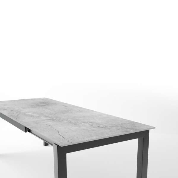 Table en dekton rectangulaire extensible avec structure en métal anthracite - Lakera - 10