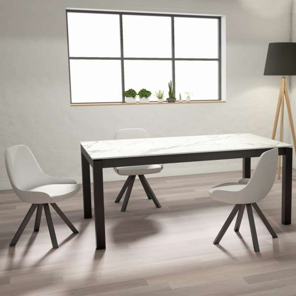 Table en dekton marbre rectangulaire extensible avec structure en métal anthracite - Lakera - 1