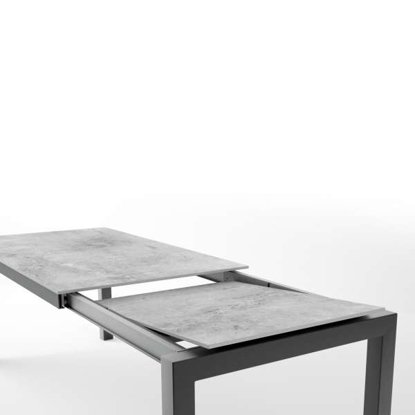 Table en dekton rectangulaire extensible avec structure en métal anthracite - Lakera - 7