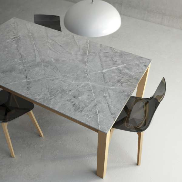 Table en Dekton extensible avec pieds en bois massif - Lakera - 4