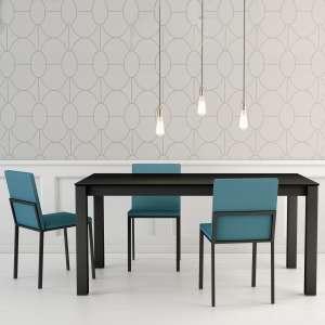 Table moderne rectangulaire en céramique noire et métal - Tokio