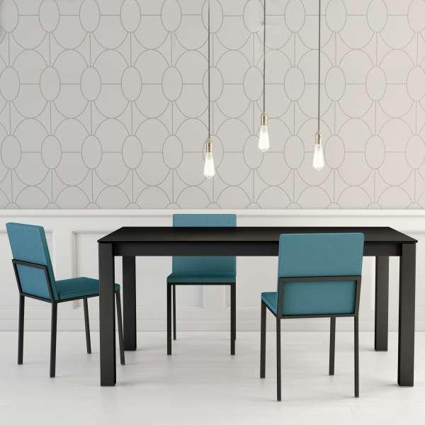 Table moderne rectangulaire en céramique noire et métal - Kyoto - 1