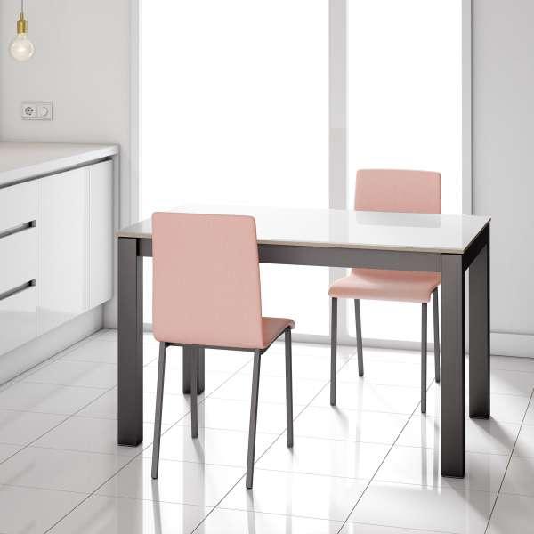 Table en verre blanc brillant et piétement métallique anthracite  - Kyoto - 2