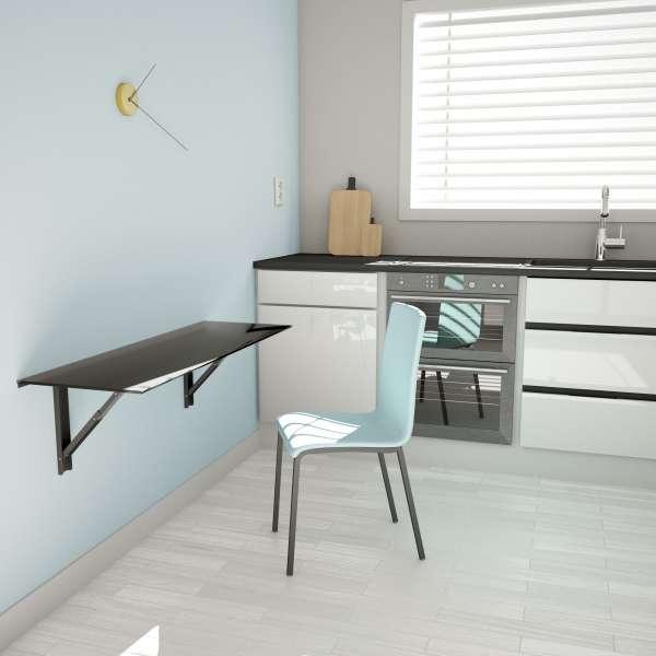 Table murale rabattable d'appoint en verre - Vulcano - 1