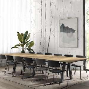Grande table de salle à manger en mélaminé avec pieds obliques - Veneto