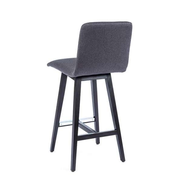 Tabouret haut scandinave en tissu gris et pieds bois noir - Plaza - 3