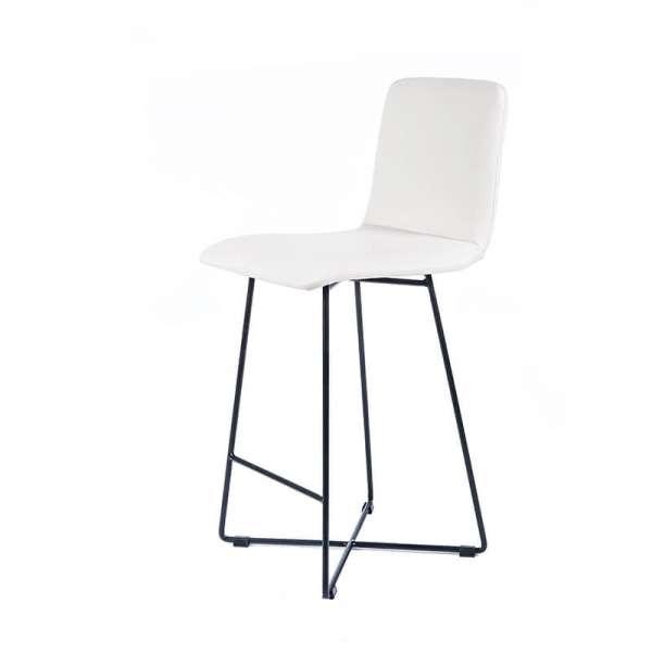 Tabouret 65 cm scandinave blanc avec pieds en métal noir - Plaza - 2