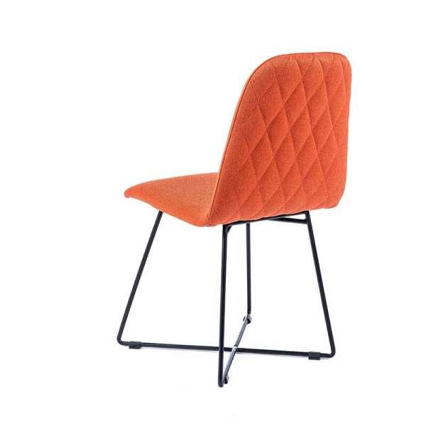 Chaise design scandinave en tissu orange pieds en métal noir - Pandora - 3