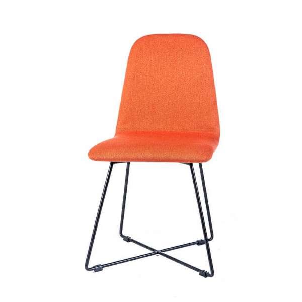 Chaise design scandinave en tissu orange pieds en métal noir - Pandora - 4