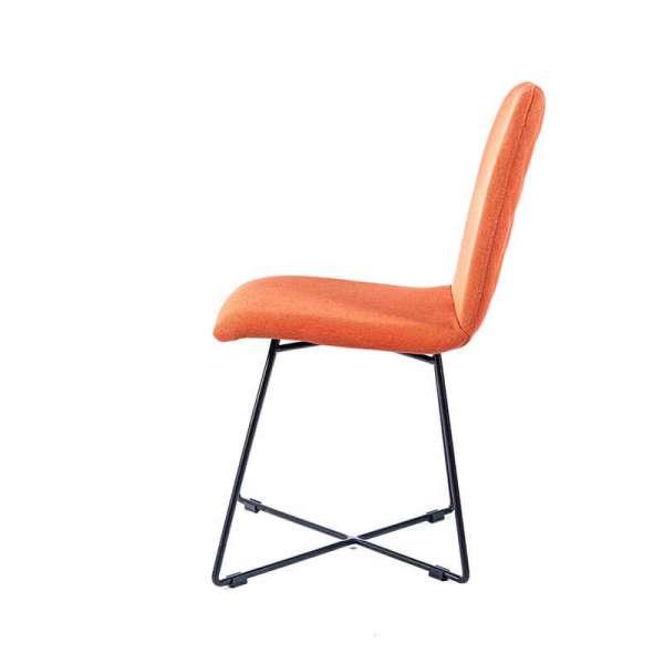 Chaise en tissu orange pieds noirs - Pandora - 5