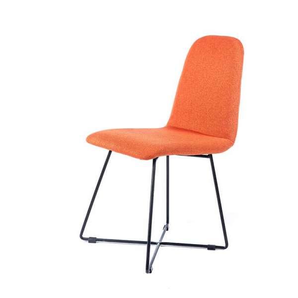 Chaise design orange en tissu pieds filaires en métal noir - Pandora - 2