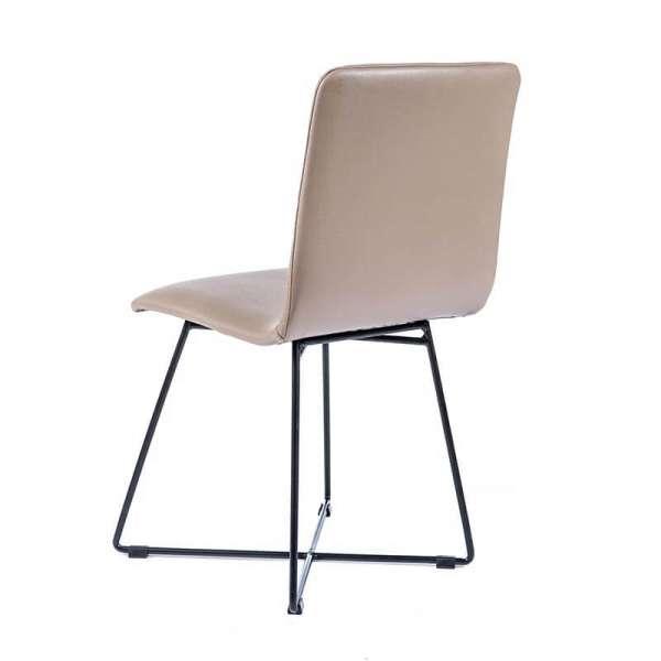Chaise sable avec pieds filaires en métal noir - Plaza - 3