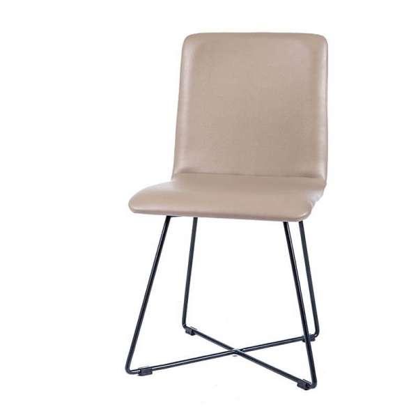 Chaise tendance sable avec pieds filaires en métal noir - Plaza - 4