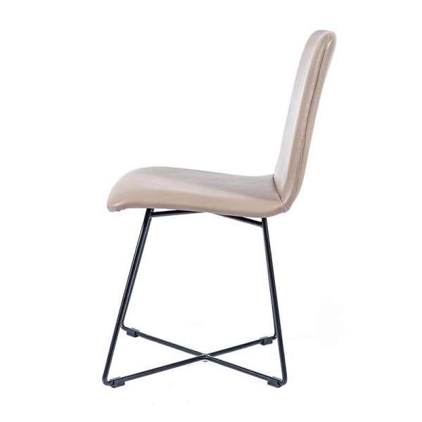 Chaise scandinave sable avec pieds filaires en métal noir - Plaza - 5
