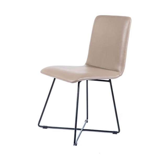 Chaise design sable avec pieds en métal noir - Plaza - 2