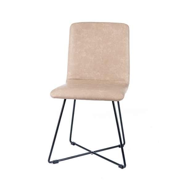 Chaise moderne sable avec pieds filaires en métal noir - Plaza - 6