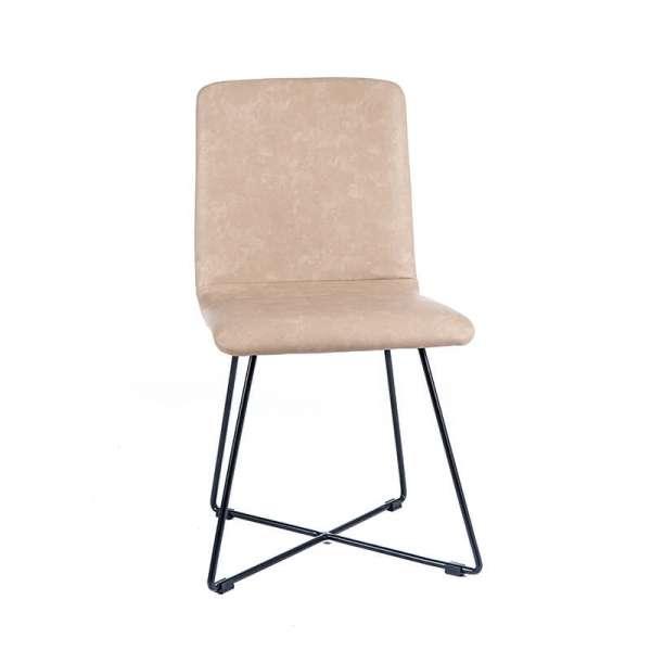 Chaise design sable avec pieds noirs - Plaza - 9