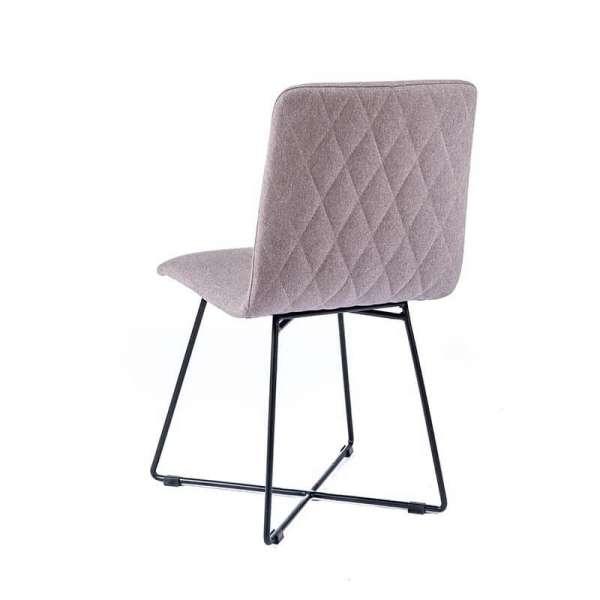 Chaise tendance en tissu gris avec pieds filaires en métal noir - Plaza - 3