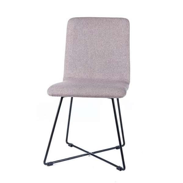 Chaise en tissu gris avec pieds filaires en métal noir - Plaza - 4