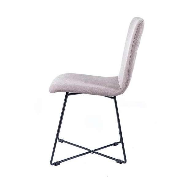 Chaise de designer en tissu gris avec pieds filaires en métal noir - Plaza - 5