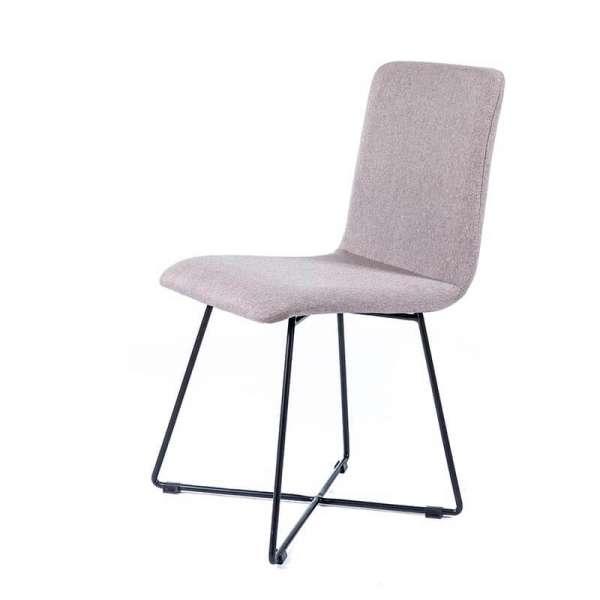 Chaise moderne en tissu gris avec pieds filaires en métal noir - Plaza - 2