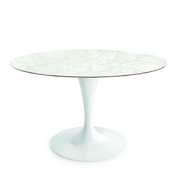 Table ronde design en céramique marbre avec pied central - Flûte Sovet® - 2