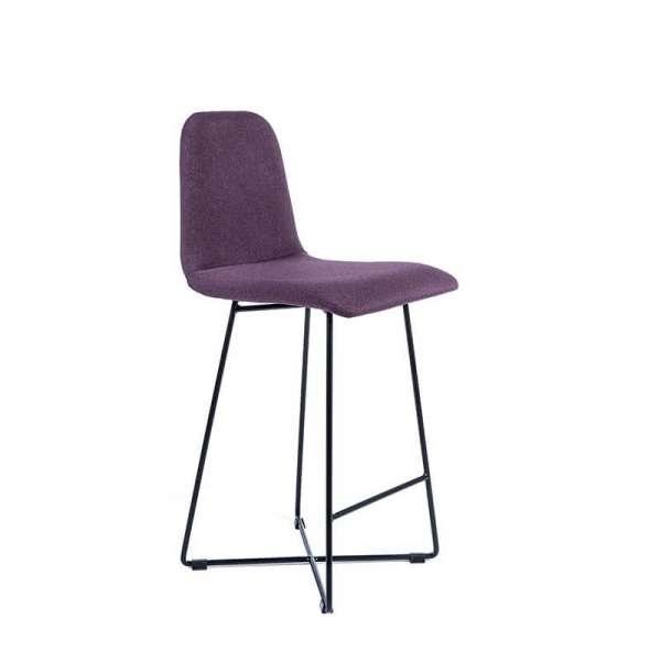 Tabouret 65 cm en tissu violet avec pieds en métal - Pandora - 1