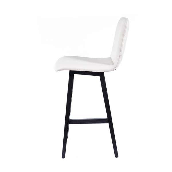 Tabouret 65 cm scandinave blanc avec pieds en bois noir - Plaza - 6