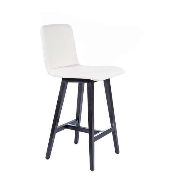 Tabouret scandinave blanc avec pieds en bois noir - Plaza - 1