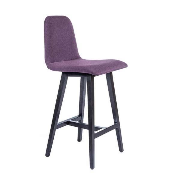 Tabouret snack pieds en bois noir et tissu violet - Pandora - 1