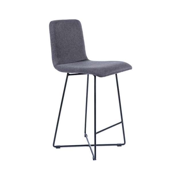Tabouret hauteur 65 cm scandinave en tissu gris avec pieds filaires en métal noir - Plaza - 1
