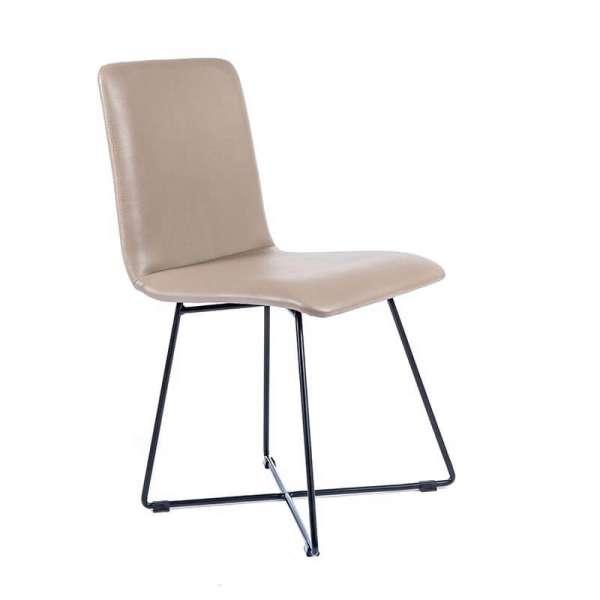 Chaise design sable avec pieds filaires en métal noir - Plaza - 1