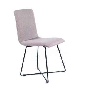 Chaise design en tissu gris avec pieds filaires en métal noir - Plaza
