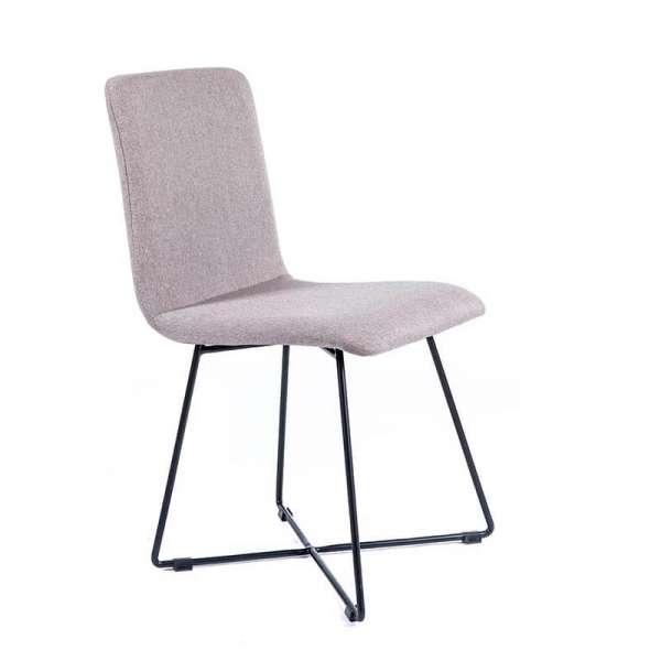 Chaise design en tissu gris avec pieds filaires en métal noir - Plaza - 1
