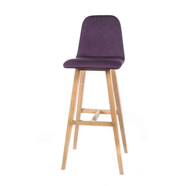 Tabouret haut de bar scandinave tissu violet avec pieds bois naturel - Pandora - 4